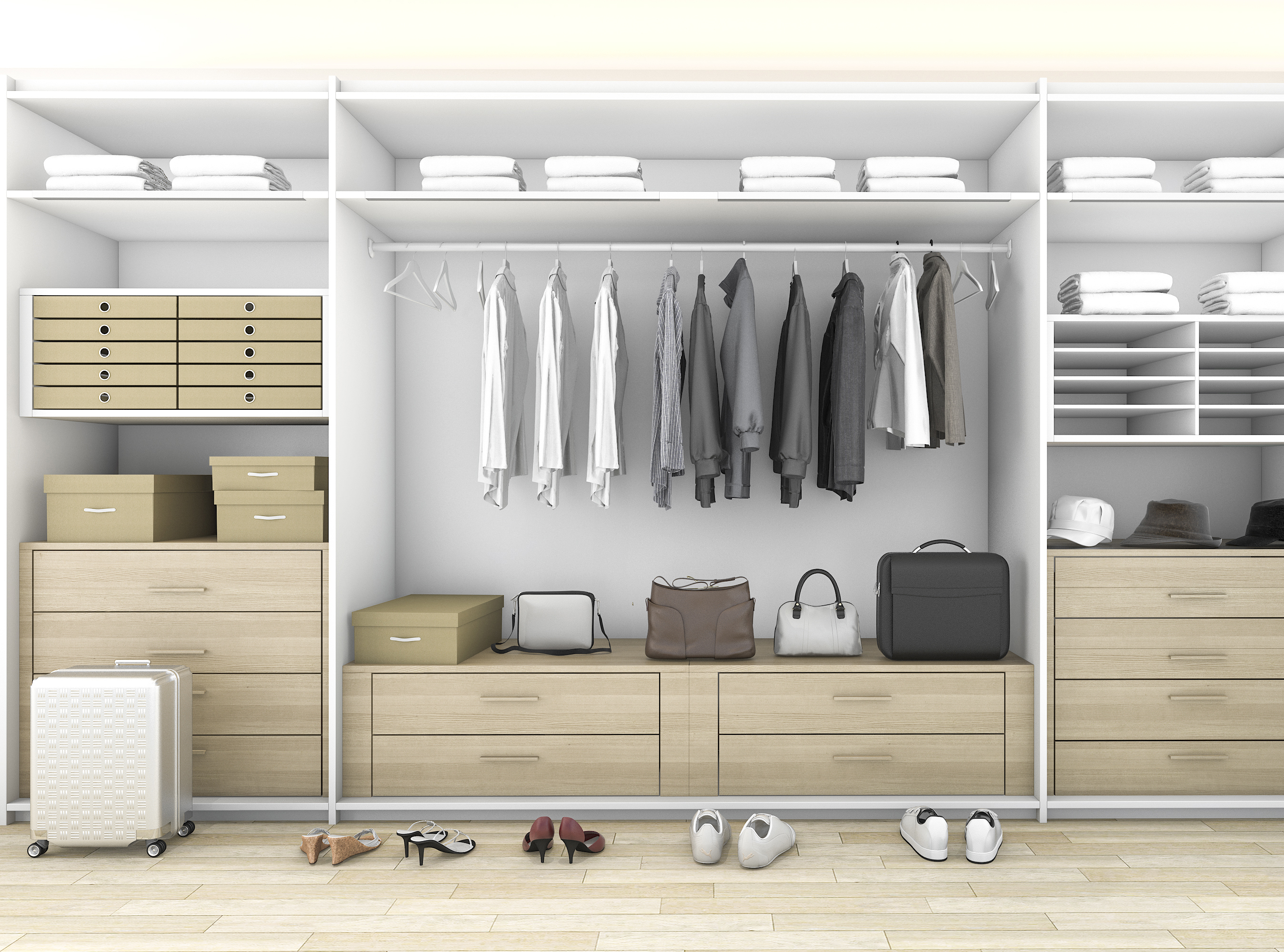 3d rendering minimal wood walk in closet with wardrobe